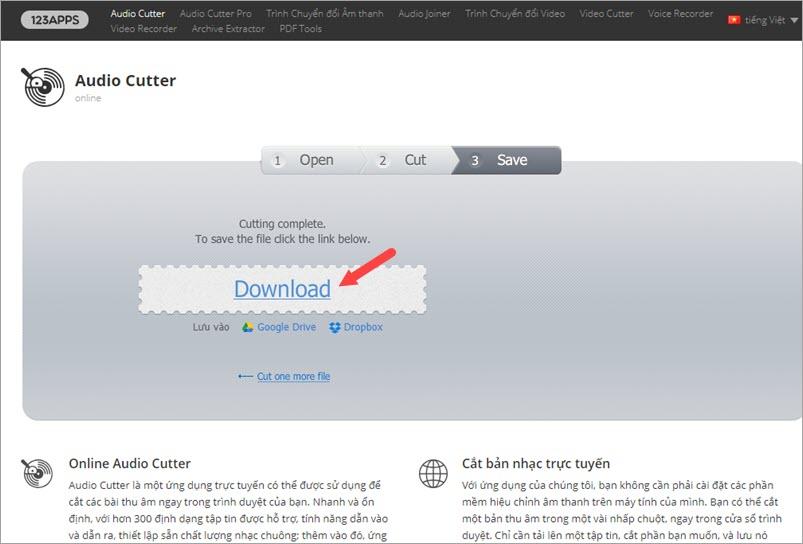 Bấm Download để tải nhạc chuông về máy