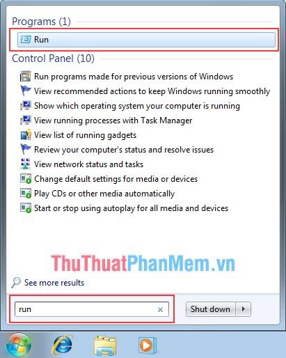 Nhập vào dòng tìm kiếm RUN hoặc nhấn tổ hợp Windows + R