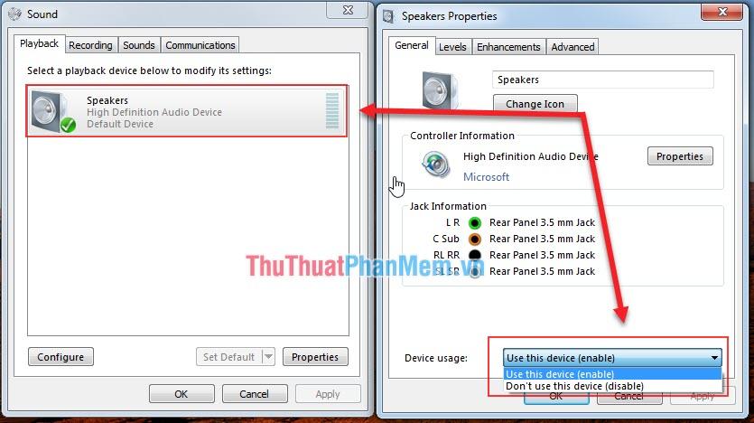 Nhấp vào thiết bị âm thanh và chọn mục Use this device (enable)