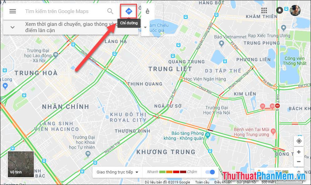 Chọn Chỉ đường ở giao diện chính của Google Maps