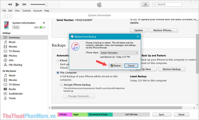 Chọn đúng tên thiết bị của bạn và click chọn Restore
