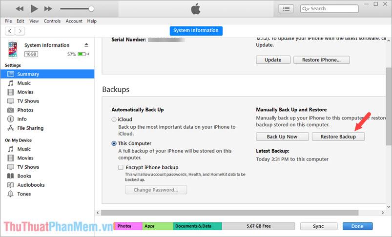 Click chọn Restore Backup
