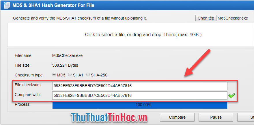 Check mã MD5, kiểm tra mã MD5 của file bất kỳ trên máy tính nhanh chóng, chính xác12