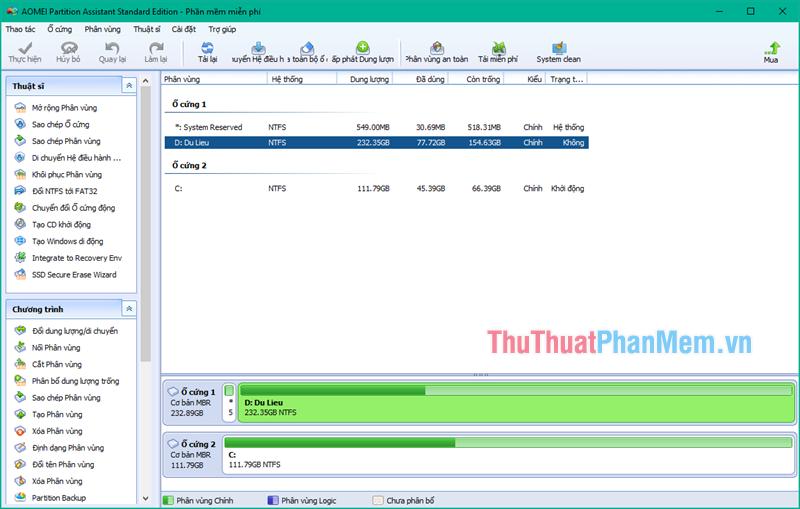 giao diện chính của phần mềm AOMEI Partition Assistant
