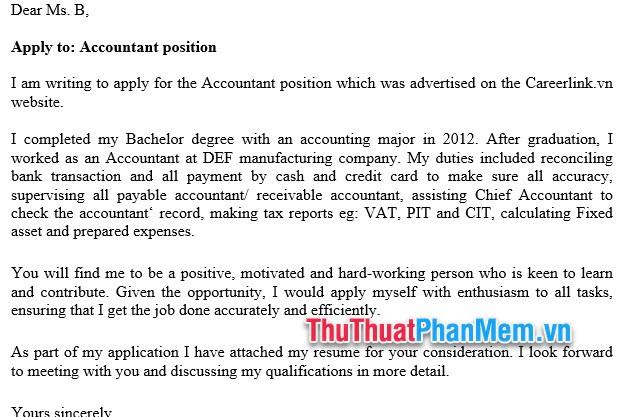 Mẫu đơn xin việc bằng Tiếng Anh cho nhân viên kế toán- Accountant