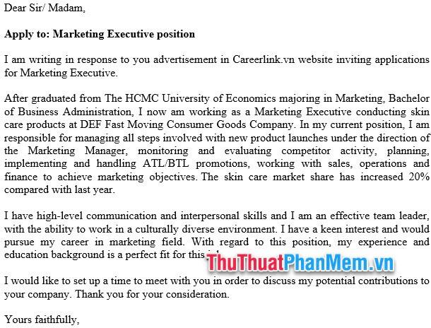 Mẫu đơn xin việc bằng Tiếng Anh cho nhân viên Marketing