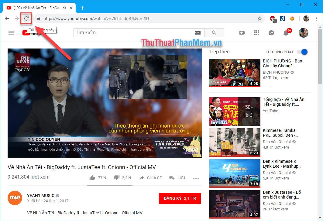 Tải lại trang Youtube