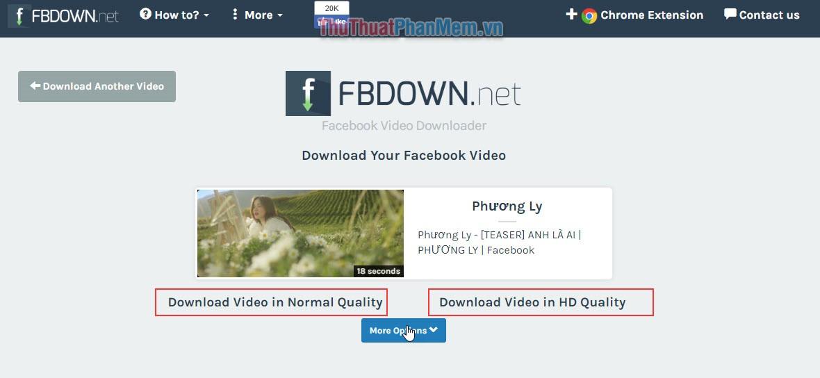 chọn chất lượng tải video