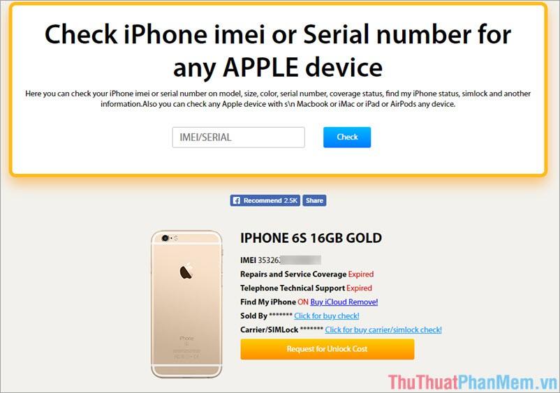kết quả Kiểm tra IMEI iPhone qua trang web iUnlocker