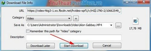 nhấn Start download