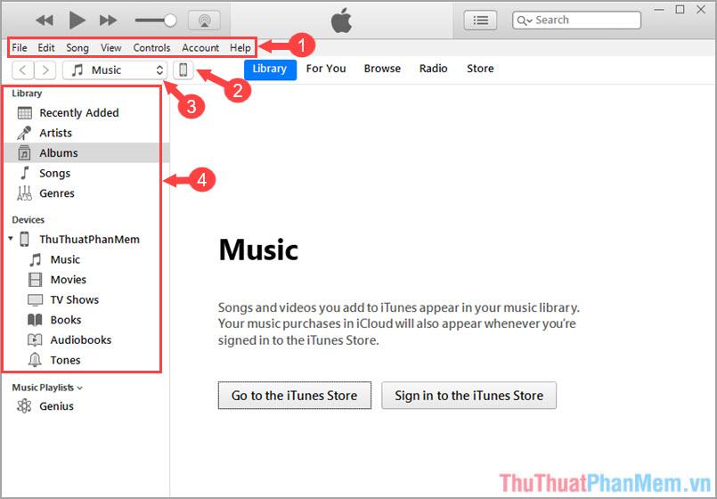 iTunes và các menu cơ bản