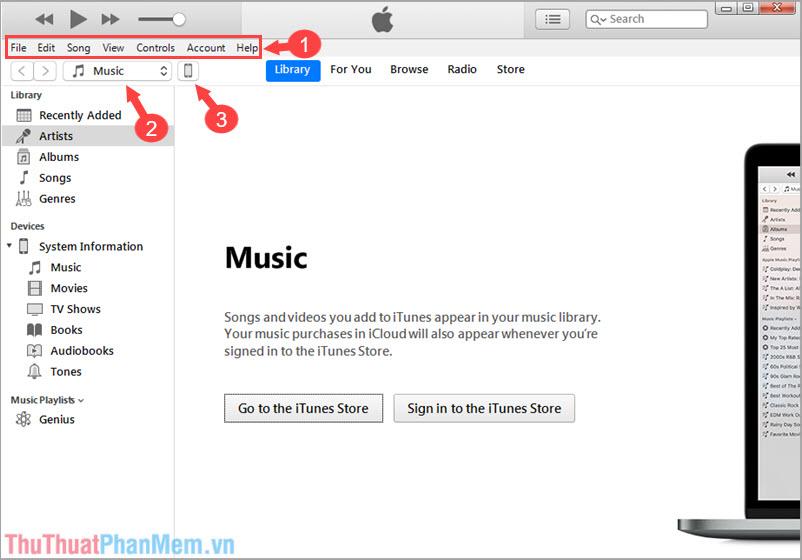 Mở iTunes lên và sử dụng