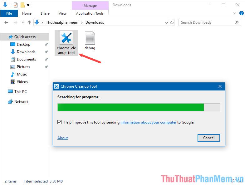 Mở phần mềm Chrome Cleanup Tool