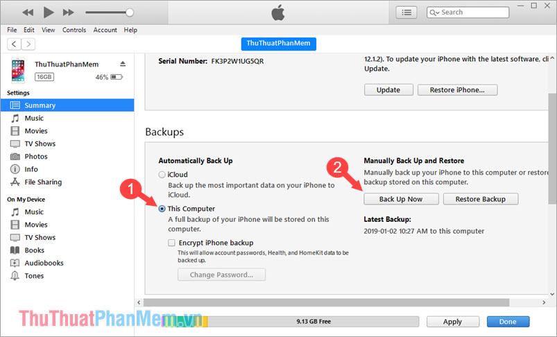 Sao lưu dữ liệu iPhone lên máy tính