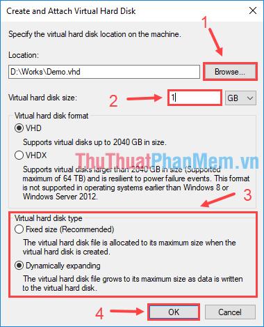 Chỉ định vị trí lưu file VHD trên máy và kích thước của nó