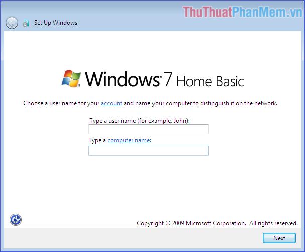 Đặt tên người dùng, tên máy tính và mật khẩu
