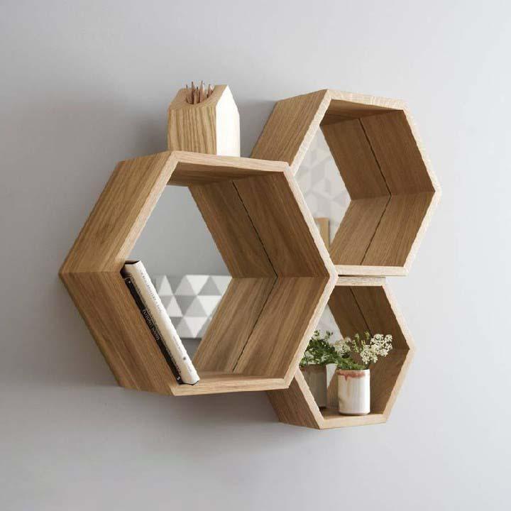 Kệ sách treo tường hình lục giác
