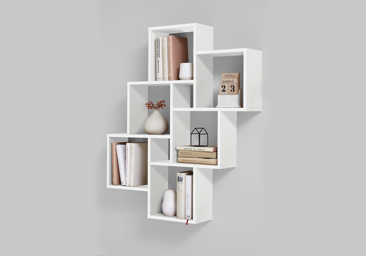 Kệ sách treo tường màu trắng