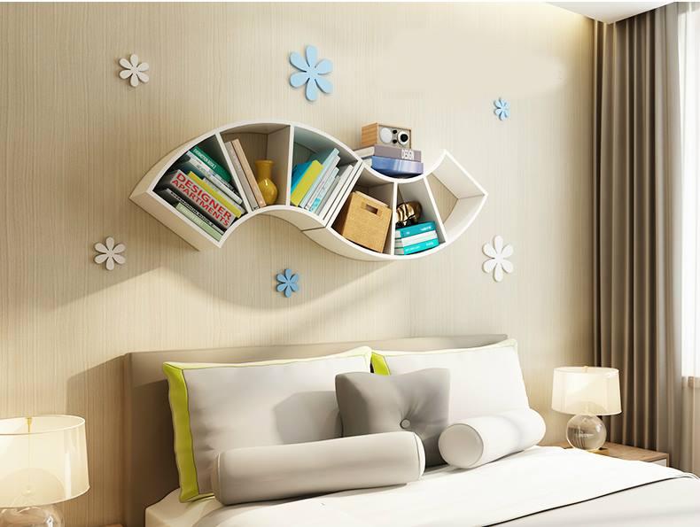Mẫu kệ sách treo tường đơn giản và đẹp cho phòng ngủ