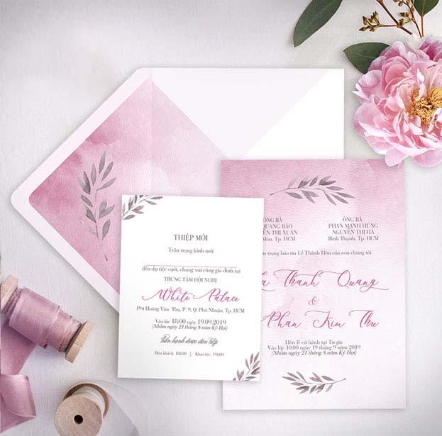 Mẫu thiệp cưới hiện đại kèm bìa
