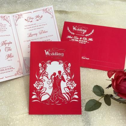 Những mẫu thiệp cưới hoa văn đỏ đẹp