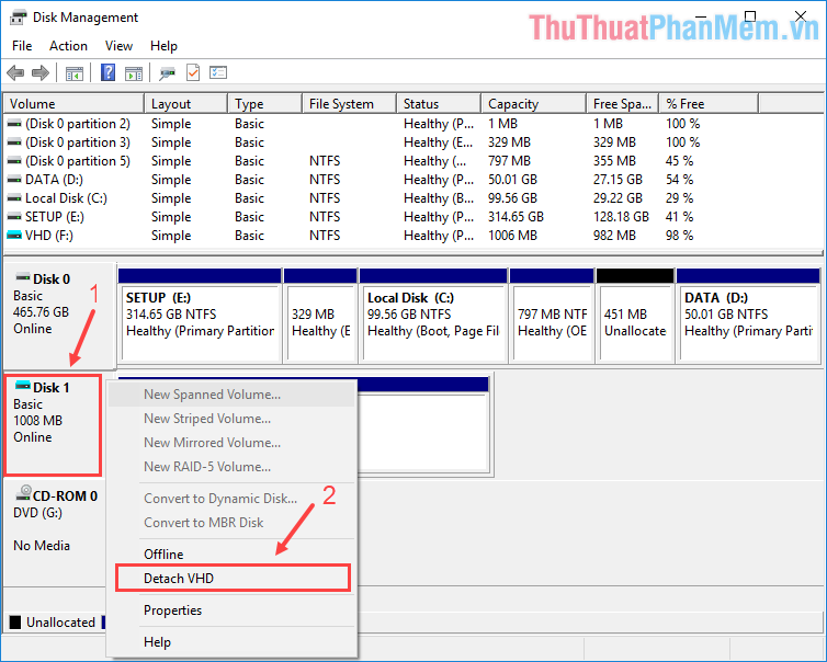 Tắt ổ đĩa ảo trong giao diện Disk Management