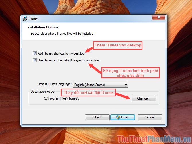 Thiết lập các thông số theo ý muốn rồi bấm Install