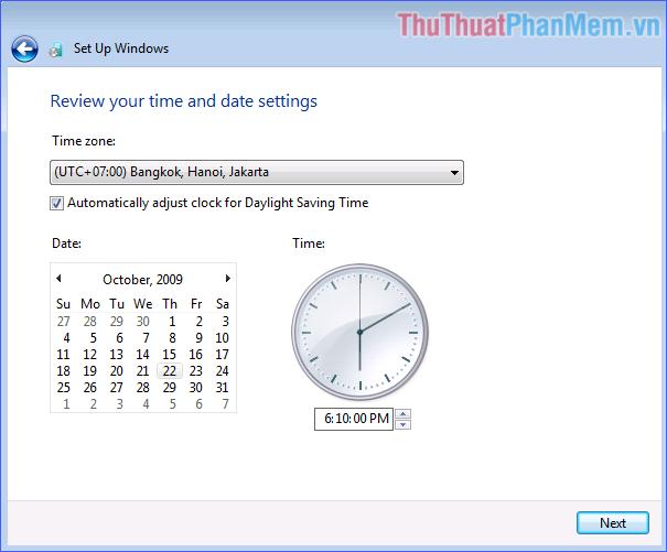 Thiết lập múi giờ và thời gian