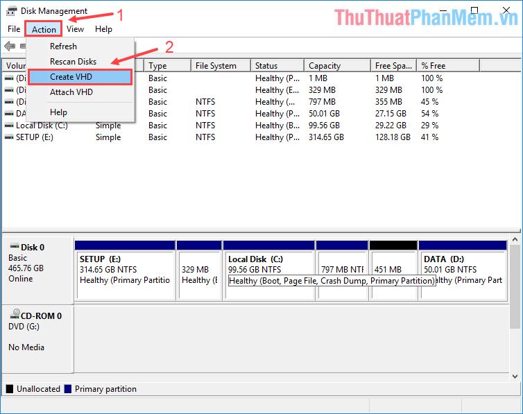 Trên cửa sổ Disk Management, click vào Action - Create VHD
