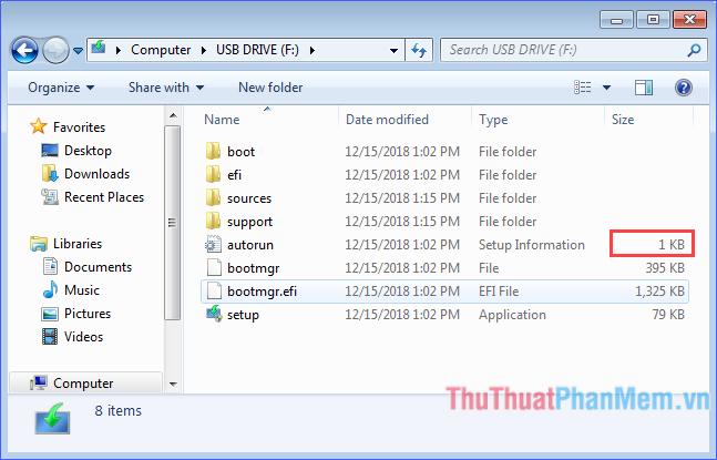 Xem thông tin Size của file autorun, nếu bằng 1 KB là thành công