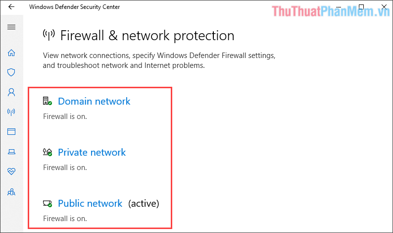 Bật Firewall