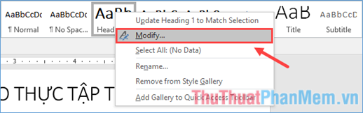 Click chuột phải vào kiểu Heading đó rồi chọn Modify