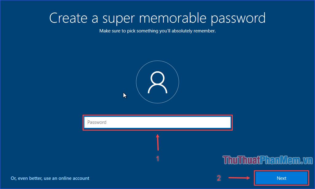 Nhập mật khẩu truy cập máy tính rồi ấn Next