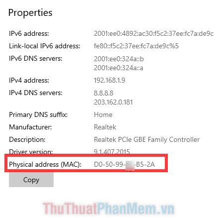 Các thông tin về Địa chỉ IP, địa chỉ MAC,...
