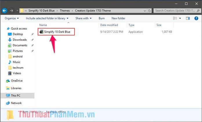 Cài đặt file Simplify 10 Dark Blue