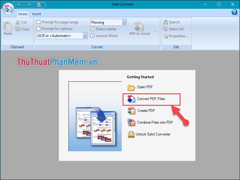 Chọn Convert PDF file và mở file PDF cần chuyển đổi