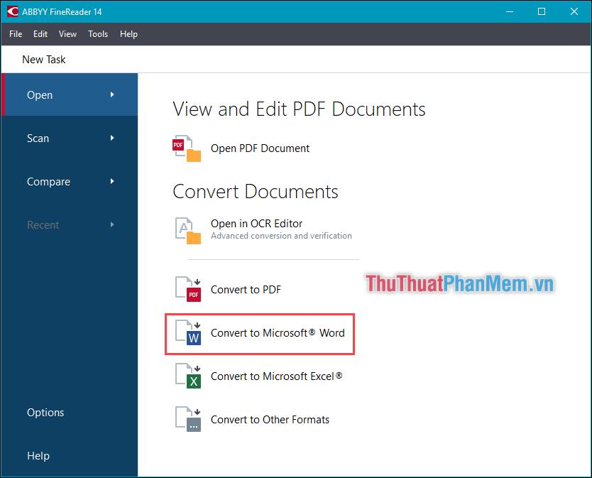 Chọn Convert to Microsoft Word và mở file PDF muốn chuyển đổi
