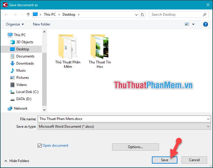 Lựa chọn thư mục chứa file Word sau khi chuyển đổi - Chọn Save