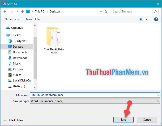 Lựa chọn thư mục chứa file Word sau khi chuyển đổi
