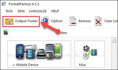 Chọn Output Folder để đến thư mục chứa video đã ghép