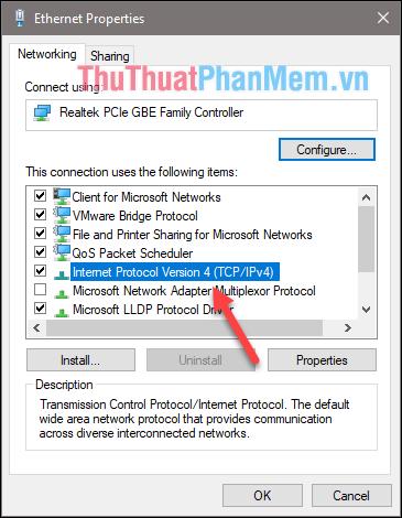 Click đúp vào dòng Internet Protocol Version 4 (TCP/IPv4)