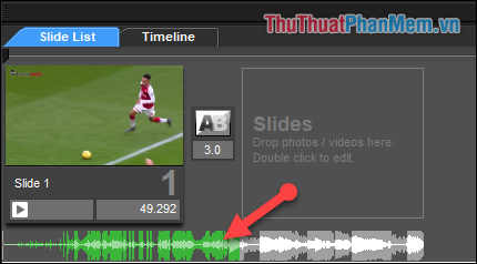 Click đúp vào file nhạc ở tab Slide List