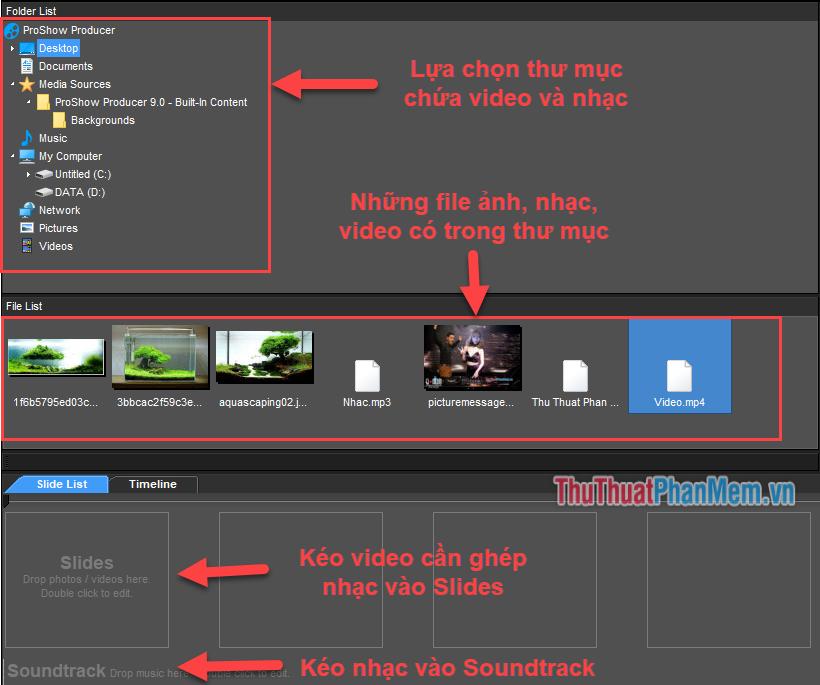 Kéo thả Video và file nhạc MP3 vào công cụ của phần mềm
