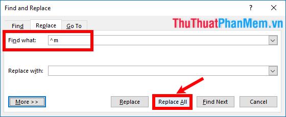 Chọn Replace All để thay thế tất cả