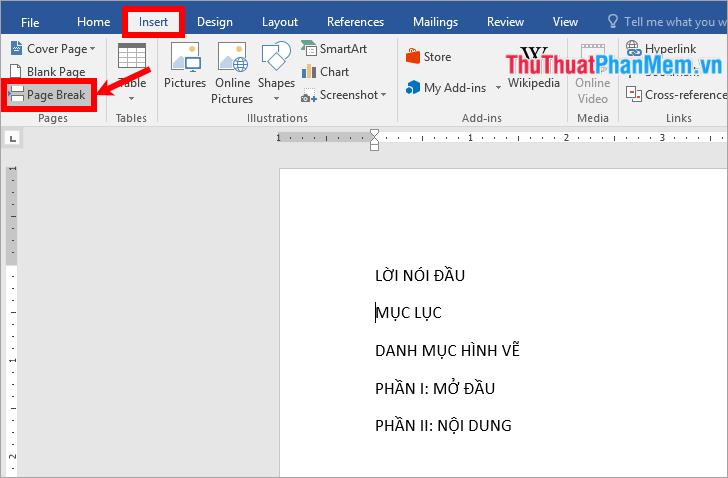 Chọn thẻ Insert → Page break hoặc tổ hợp phím Ctrl + Enter