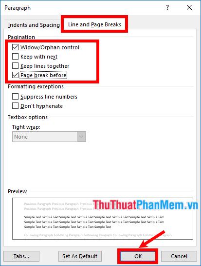 Chọn thẻ Line and Page Breaks, đánh dấu tích chọn trước tùy chỉnh