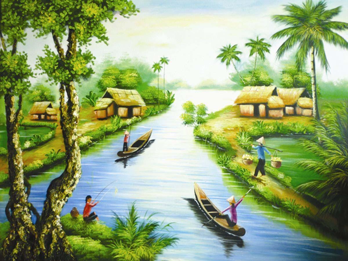 Mẫu tranh tường phong cảnh đồng quê