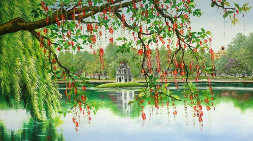 Mẫu tranh tường phong cảnh Hồ Gươm