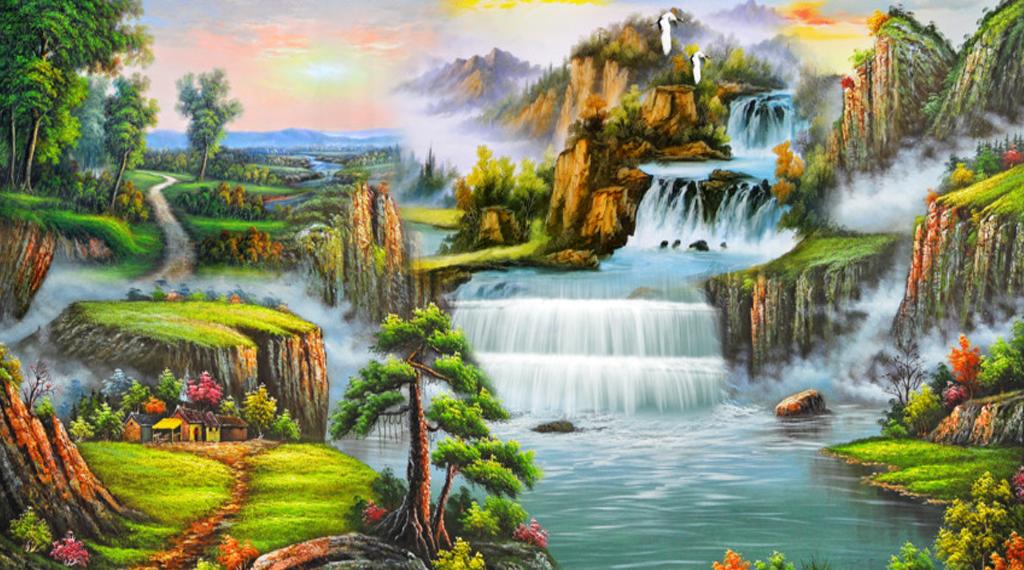 Mẫu tranh tường phong cảnh núi non