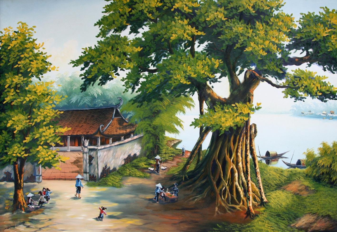 Mẫu vẽ tranh tường 3d đồng quê